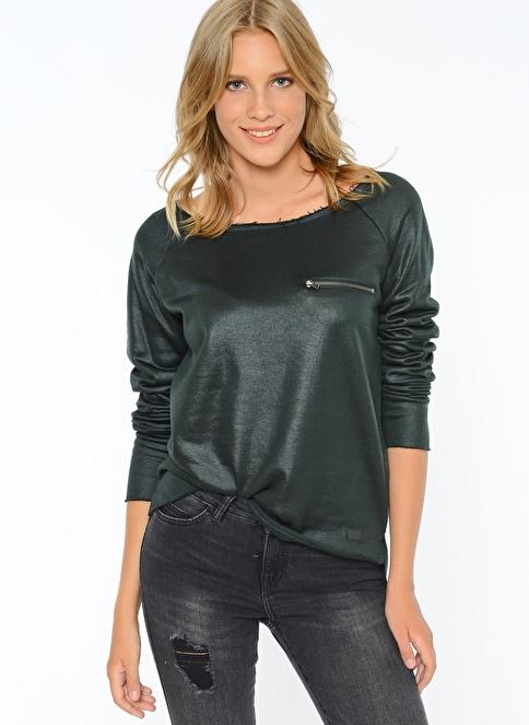 Only Fermuarlı Cep Detaylı Kayık Yaka Sweatshirt Renkli